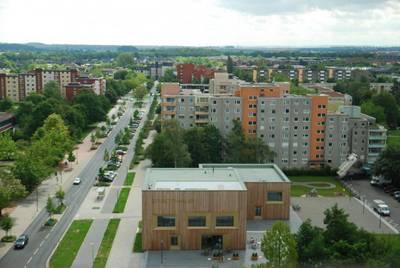 Stadthaus vom Dach des Rathaus fotografiert