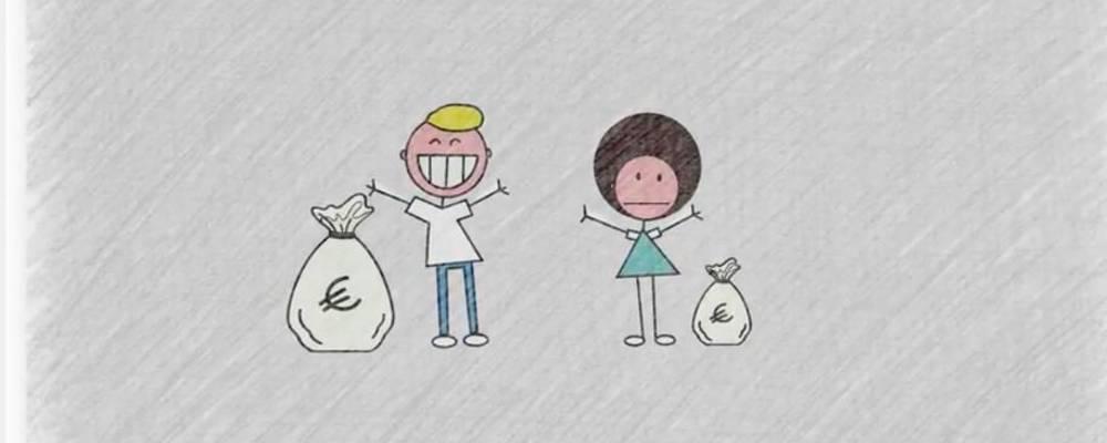 Zwei Figuren, die die ungleiche Bezahlung zwischen Männer und Frauen demonstrieren
