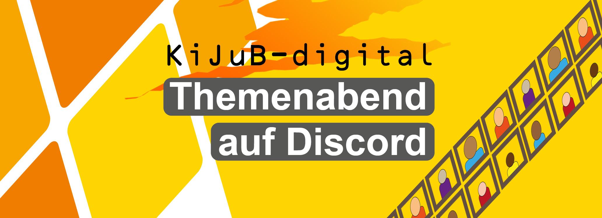 Rauten in Orangetönen, Schriftzug KiJuB-Digital Themenabend auf Discord ©Stadt Laatzen