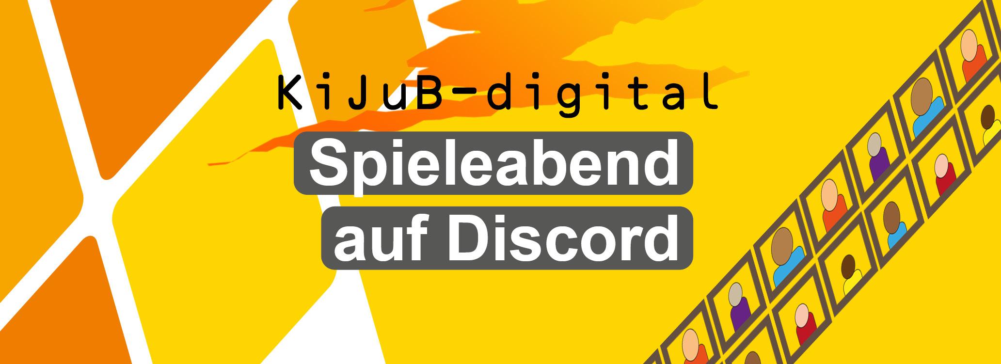 Rauten in Orangetönen, Schriftzug KiJuB-Digital Spieleabend auf Discord ©Stadt Laatzen