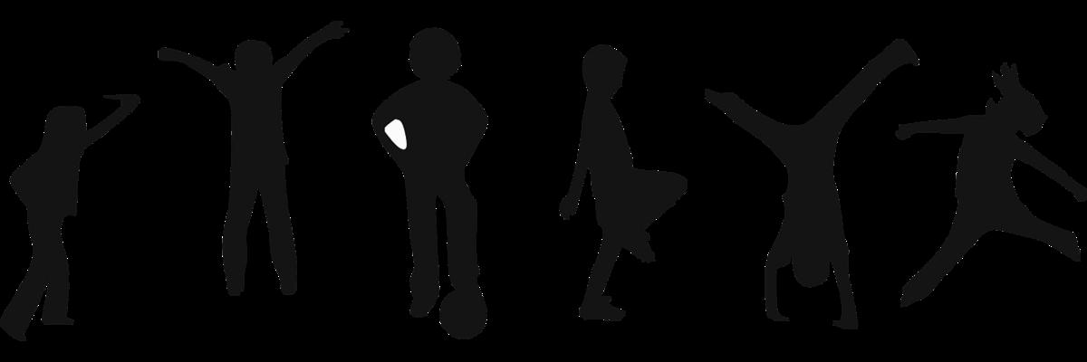 schwarze gezeichnete Figuren, die Kinder beim Sport darstellen