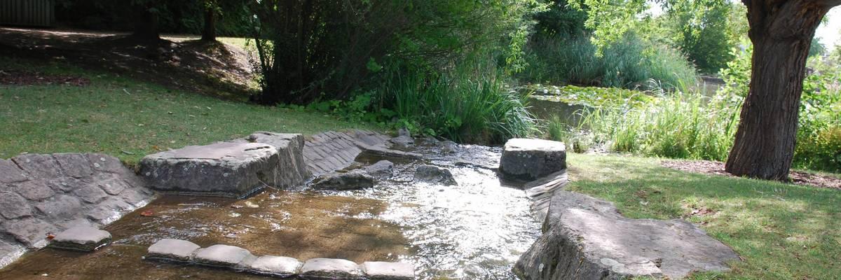 Kleiner Bachlauf, im Hintergrund Bäume