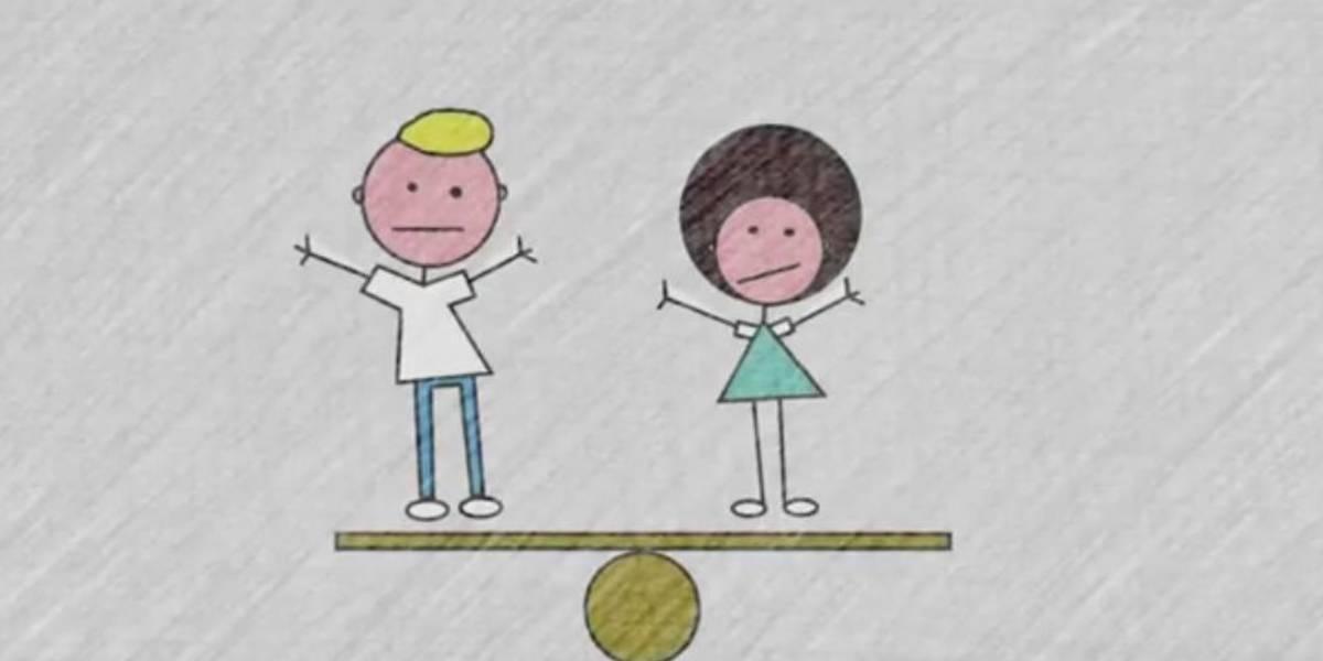 Gezeichnete Mann und Frau auf einer Wippe.