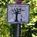 Eine Hinweisschild am Eingang des Parks warnt schon seit Längerem vor der Gefahr von Astbrüchen.