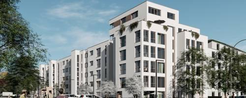 Grafische Ansicht des Wohnungs-Neubaus aus Sicht der Erich-Panitz-Straße [(c) Planungsgruppe LINDSCHULTE]
