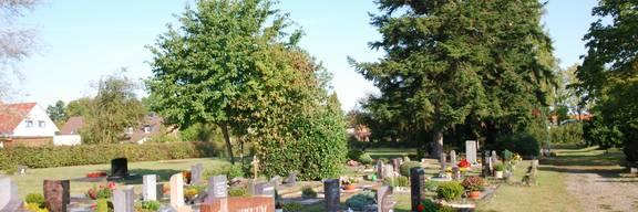 Gräber mit Blumenschmuck auf einer Wiese