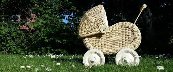 nostalgischer Puppenwagen auf einer grünen Wiese ©Pixabay