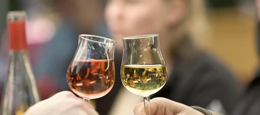 Paar, das mit Weingläser anstößt