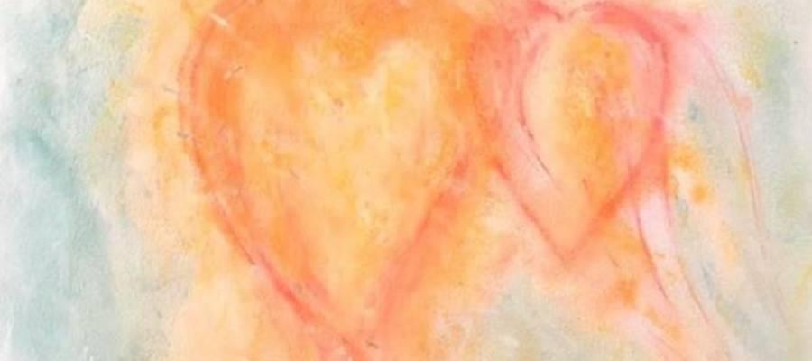 Zwei Herzen gemalt in Pastellkreide von Ingeborg Winschu